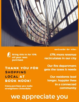 Example of a flyer to give to customers thanking them for shopping local